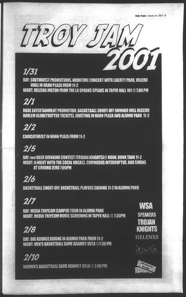Daily Trojan, Vol. 142, No. 15, January 31, 2001