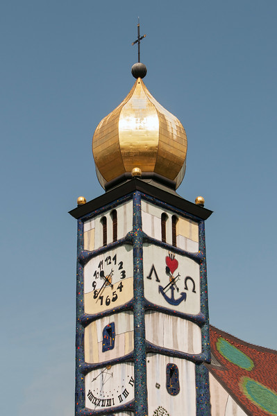 Clock Tower of Church of St. Barbara designed by Hundertwasser, Barnbach (Baernbach), Styria, Austria