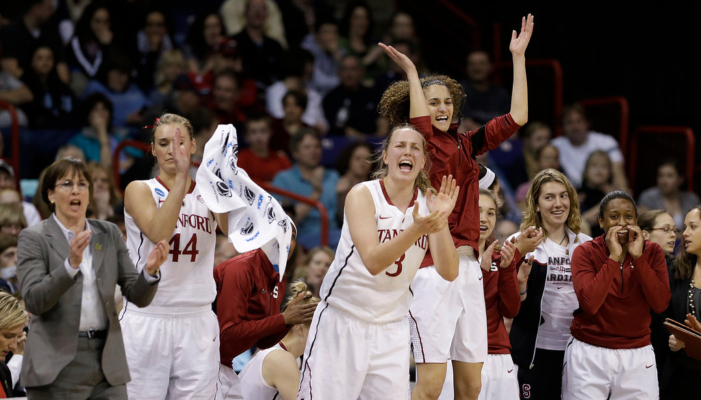 . Stanford\'s bench reacts to a score against Georgia in the first half of a regional semifinal in the NCAA women\'s college basketball tournament Saturday, March 30, 2013, in Spokane, Wash. (AP Photo/Elaine Thompson)