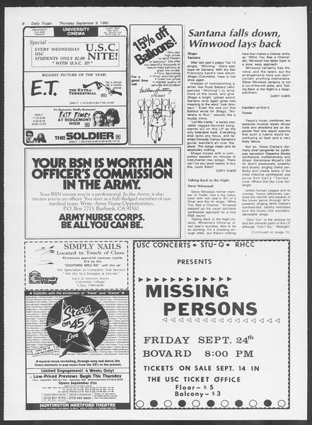 Daily Trojan, Vol. 92, No. 3, September 09, 1982