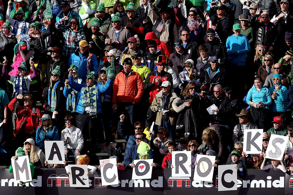 . Fans cheer for Marco Sullivan during the men\'s downhill on the Birds of Prey at the Audi FIS World Cup on November 30, 2012 in Beaver Creek, Colorado.  (Photo by Matthew Stockman/Getty Images)