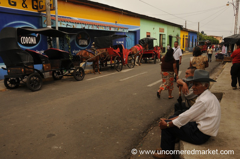 Horse and Carriages on the Street - Juayua, El Salvador