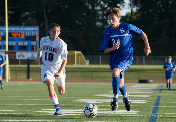 10/01/19 Wesley Bunnell   StaffrrSouthington boys soccer was defeated by Avon 3-2 on Tuesday afternoon at Southington High School. Shane Sullivan (24).