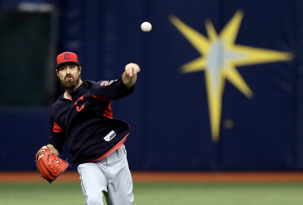 . Cleveland Indians pitcher Andrew Miller throws in the outfield before a baseball game against the Tampa Bay Rays Monday, Sept. 10, 2018, in St. Petersburg, Fla. Miller came off the disabled list before the game. (AP Photo/Chris O\'Meara)