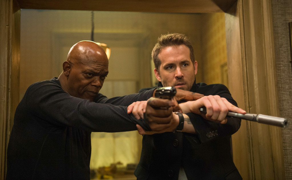 . Samuel L. Jackson and Ryan Reynolds star in �The Hitman�s Bodyguard,� in theaters Aug. 18. (Lionsgate)