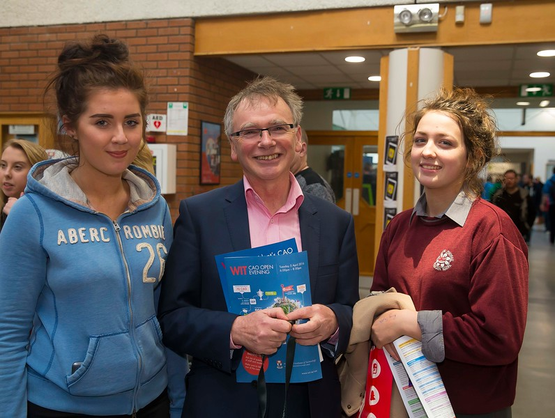 05/04/2016. Waterford Institute of Technology (WIT) CAO Information Evening are Emily Sheehan and Mary Kate Clancy from Waterford with Prof Willie Donnelly, President WIT. Picture: Patrick Browne  Prospective students travelled from far and wide to the Waterford Institute of Technology (WIT) CAO Information Evening on Tuesday 5 April to hear in detail about the brand new WIT President's Scholarship Programme worth up to €12,000 a year for five students. For September 2016, WIT is offering an exciting new scholarship scheme which encourages and rewards young people who show a capacity to shape a better society. WIT has 70 CAO courses. Details are available at www.wit.ie/caoscholarship
