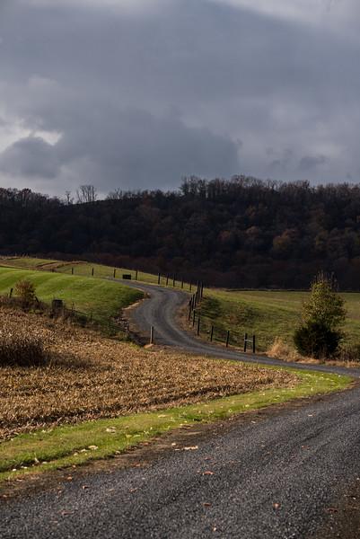 Magic light on winding gravel road