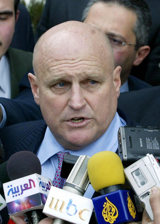 . Damascus, SYRIA:  (FILES) -- A file photo taken 02 January 2005 shows US Deputy Secretary of State Richard Armitage speaking to the press after meeting with Syrian Foriegn Minister Faruq al-Shara in Damascus. Armitage outed CIA operative Valerie Plame to a newspaper reporter, The Washington Post said 29 August 2006 citing a former colleague of Armitage. Washington Post reporter Robert Novak then identified Plame in his newspaper column on July 2003, after getting indirect confirmation of her role from senior presidential adviser Karl Rove.   (LOUAI BESHARA/AFP/Getty Images)