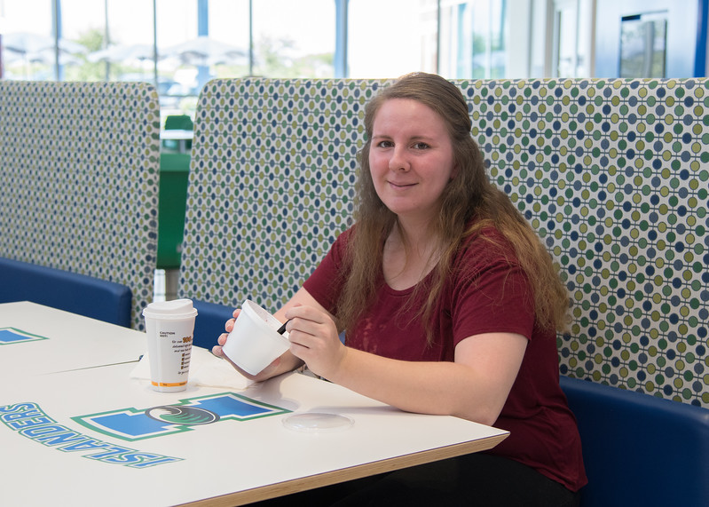 Stephanie Sanchez enjoys her meal in the University Center.