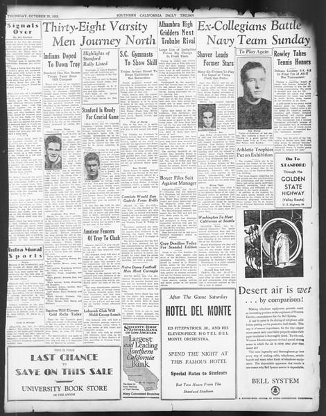 Daily Trojan, Vol. 24, No. 30, October 20, 1932