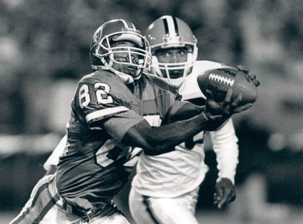 . This game is best remembered for The Drive in Cleveland and Denver sports lore when the Broncos drove 98 yards to tie the game with 37 seconds left in regulation and Denver kicker Rich Karlis kicked the game-winning 33-yard field goal 5:38 into overtime.   Vance Johnson of the Denver Broncos catches a pass against the Cleveland Browns.  Denver Post