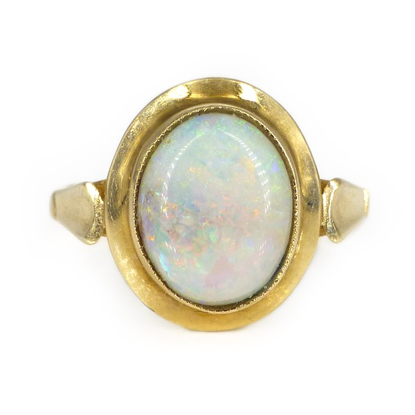Vintage 1970s 9ct Gold Opal Modernist Style Ring