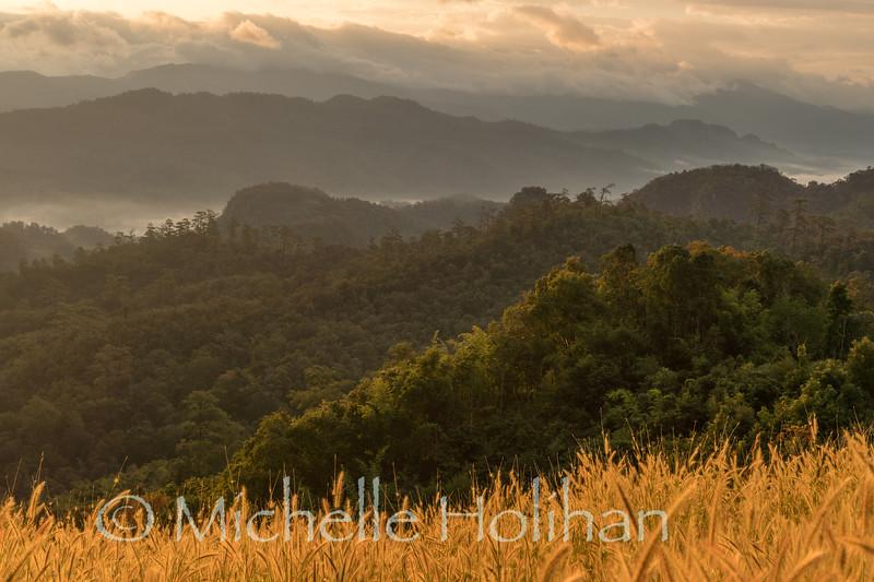 Sunrise in the mouantains near near Tham Lod, Thailand