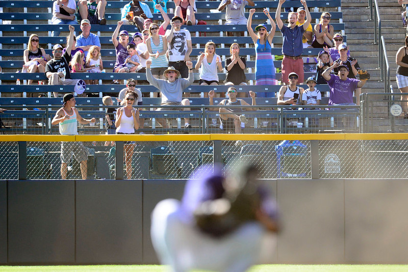 . DENVER, CO - JUNE 9: Colorado Rockies fans react to a near double play during the Rockies\' 8-7 10-inning win in Denver. The Colorado Rockies hosted the San Diego Padres. (Photo by AAron Ontiveroz/The Denver Post)