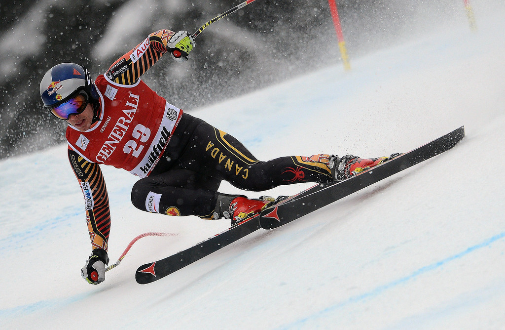 . Erik Guay of Canada competes during the Audi FIS Alpine Ski World Cup Men\'s Super-G on March 02, 2014 in Kvitfjell, Norway. (Photo by Jonas Ericsson/Agence Zoom/Getty Images)