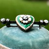 .45ctw Victorian Heart Diamond and Enamel Pin 13