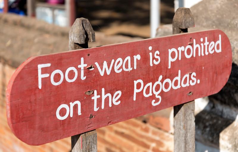 Footwear Prohibited sign, Bagan, Burma - Myanmar