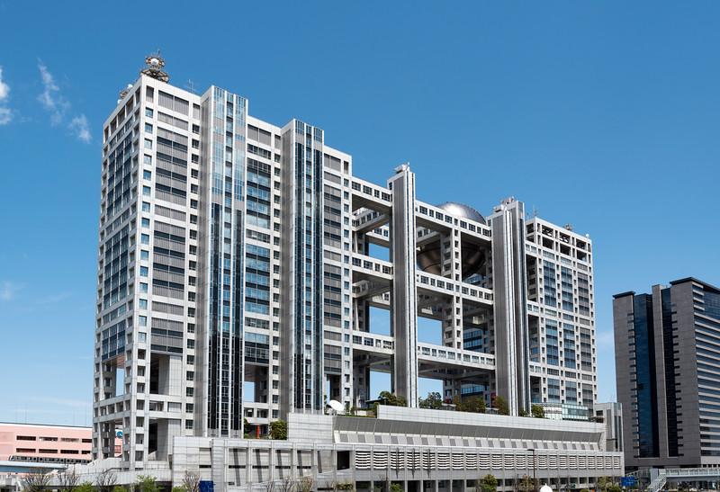 Fuji Television headquarters building in Odaiba (Daiba), Tokyo Bay, Japan