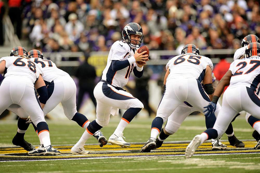 . Denver Broncos quarterback Peyton Manning #18 against the Baltimore Ravens at the M&T Bank Stadium, in Baltimore , MD Sunday December 16, 2012.      Joe Amon, The Denver Post