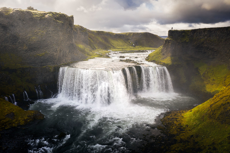 Axlafoss Iceland Highlands drone aerial waterfall landscape photography_1.jpg