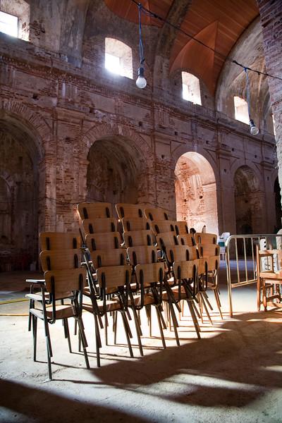 Interior of El Monumento unfinished church, town of Casta–o del Robledo, province of Huelva, Andalusia, Spain