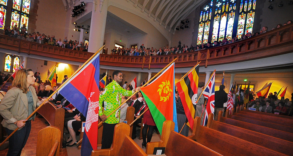 . Fuller Around The World, A Festival of Flags is the start of the Fuller Theological Seminary celebration  the inauguration of its Fifth President, Mark Labberton, on Wednesday at First United Methodist Church in Pasadena Wednesday, November 6, 2013.(Photo by Walt Mancini/Pasadena Star-News)