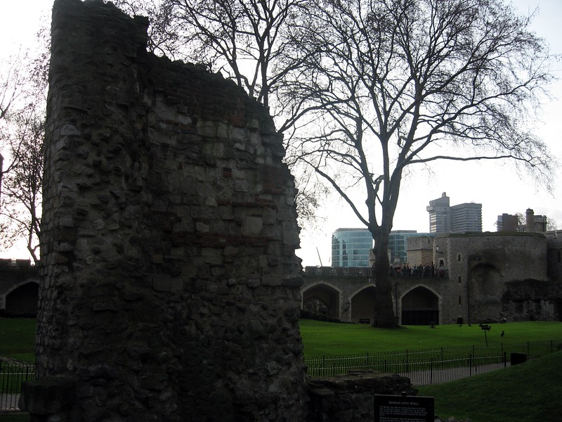 A piece of the London Wall, built by the Romans in the 2nd Century