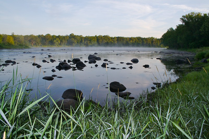 Mist coming off the water dew in the grass. Along the St. Croix River.