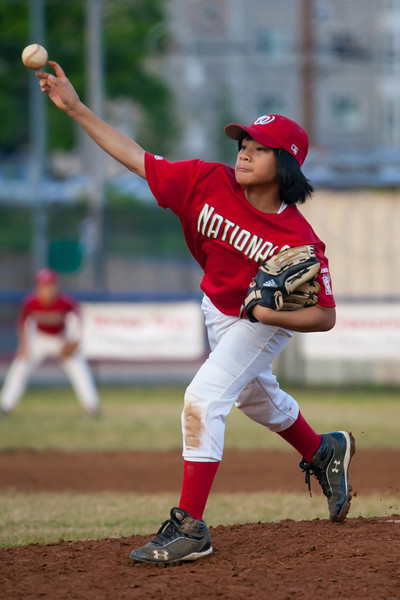 Alex pitching in the bottom of the 5th inning. The Nationals almost blew a big lead, but managed to hold off the Brewers to win 9-7. They are now 3-2 for the season. 2012 Arlington Little League Baseball, Majors Division. Nationals vs Brewers (26 Apr 2012) (Image taken by Patrick R. Kane on 26 Apr 2012 with Canon EOS-1D Mark III at ISO 1600, f2.8, 1/2500 sec and 200mm)