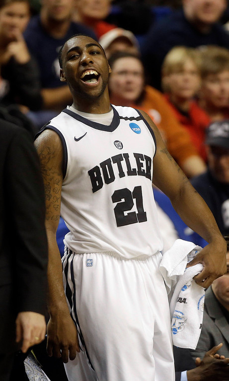 . Butler forward Roosevelt Jones (21) reacts during the second half  their second round NCAA college basketball tournament game against Bucknell Thursday, March 21, 2013, in Lexington, Ky. Butler won  68-56. (AP Photo/John Bazemore