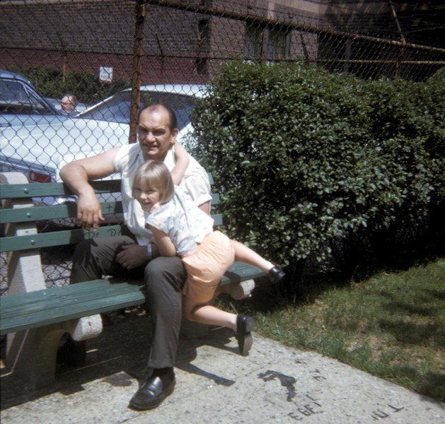 daddy and pat on benches.jpg
