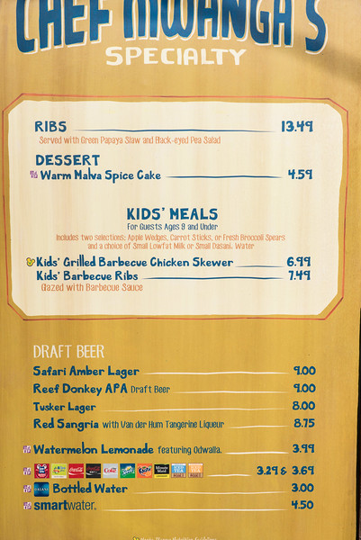 Harambe Marketplace - Ribs Place Menu - Animal Kingdom Walt Disney World