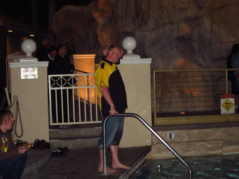 Joel is about to dive in the water in 40 degree Las Vegas air...