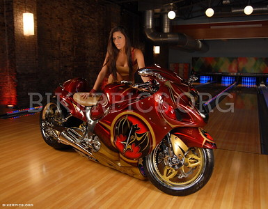 CHELLE MODELING WITH THE BACARDI BIKE