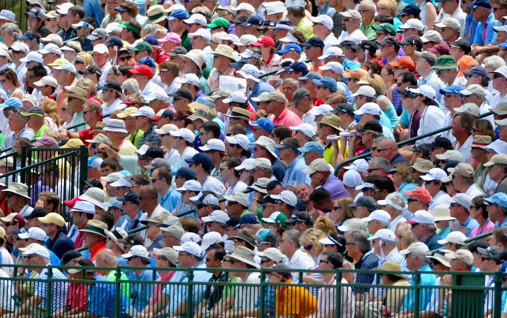 . Fans watch the play during the first round of the 114th U.S. Open at Pinehurst Resort & Country Club, Course No. 2 on June 12, 2014 in Pinehurst, North Carolina.  (Photo by Ross Kinnaird/Getty Images)