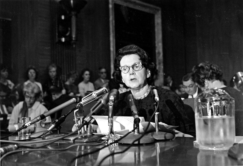 Rachel Carson testifying about pesticides before a Senate subcommittee, 1963 (AP)