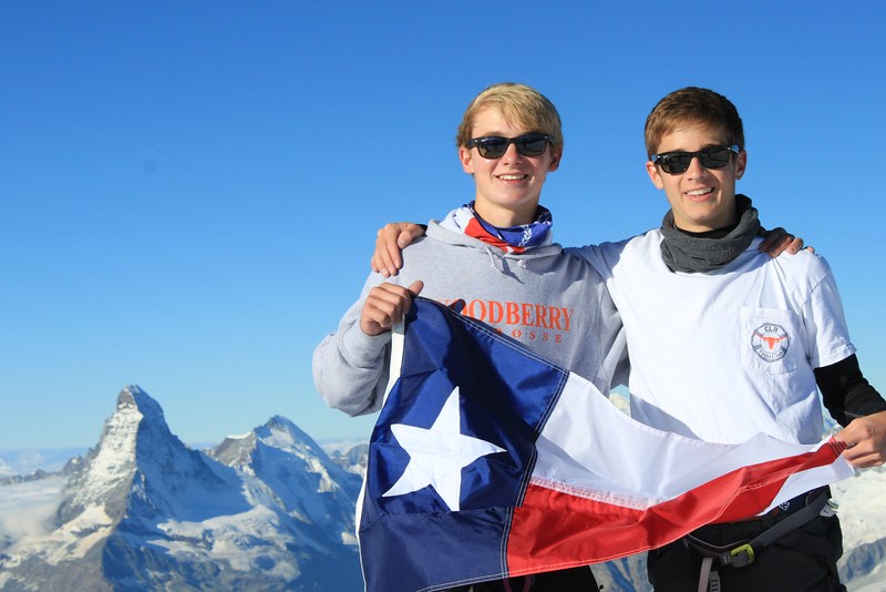 Texas is alive and well atop Alphubel (Rives and Whit with the Matterhorn in the background)