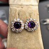 7.30ctw Victorian Amethyst and Old Mine Cut Diamond Cluster Earrings 2