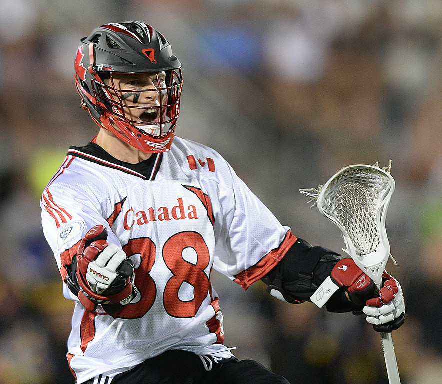 . COMMERCE CITY, CO - JULY 17: Canada attack Zack Greer (88) celebrated a goal in the second half. The Iroquois Nationals took on Canada in a FIL World Championship semifinal game Thursday night, July 17, 2014.  Photo by Karl Gehring/The Denver Post