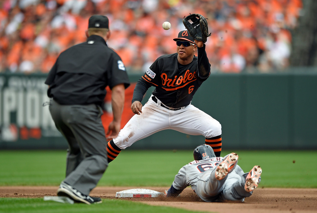 . Baltimore Orioles second baseman Jonathan Schoop (6) can\'t make the tag in time as Detroit Tigers\' Ezequiel Carrera steals second in front of second base umpire Jim Wolf in the fourth inning of Game 2 in baseball\'s AL Division Series in Baltimore, Friday, Oct. 3, 2014. (AP Photo/Nick Wass)