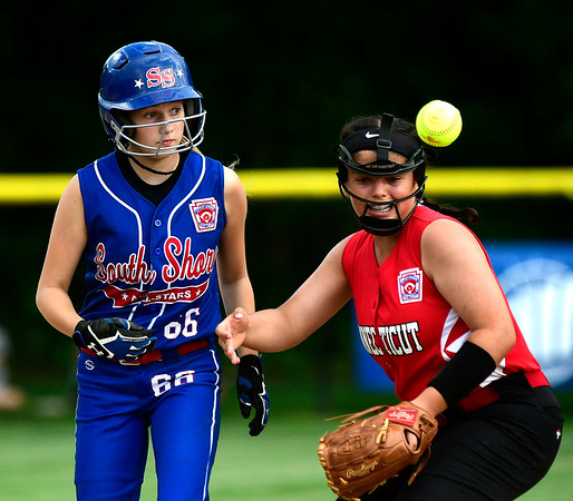 7/25/2018 Mike Orazzi | Staff NY's Julianna Martin (66) and CT's Ellie Gallagi (11) at Breen Field in Bristol Tuesday afternoon.