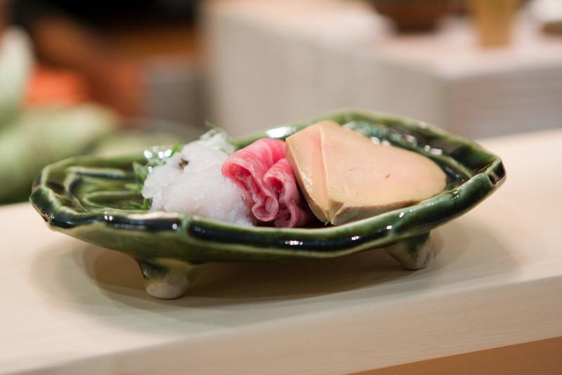 Course #9: Shabu Shabu  The hama fish, kobe beef, and foie gras.