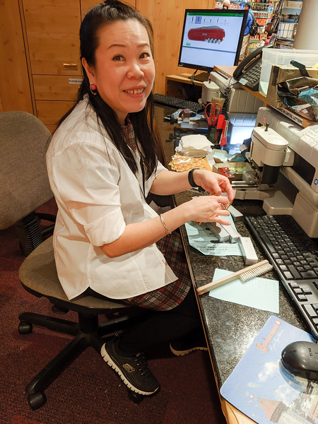 The woman who engraved all the Swiss army knives we bought for gifts.