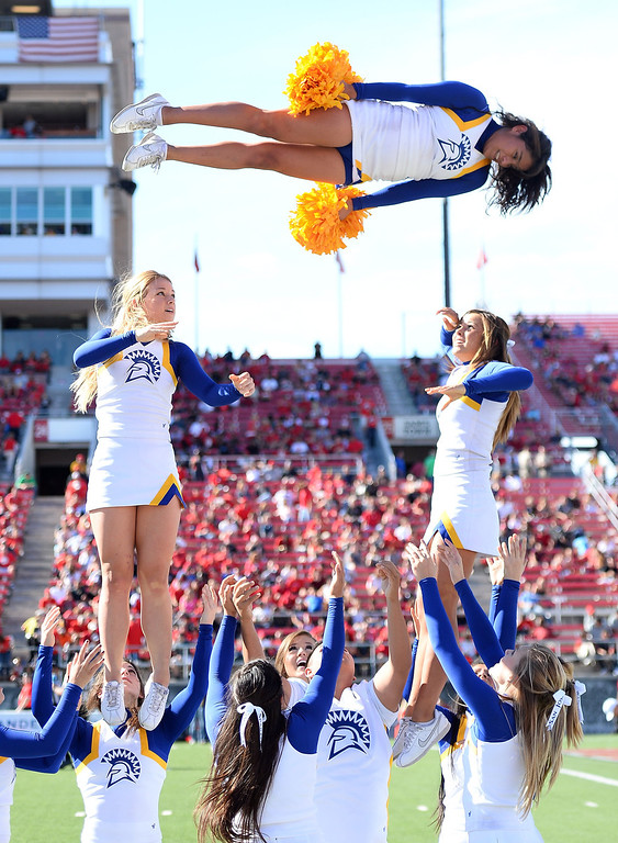 . San Jose State Spartans cheerleaders perform during the team\'s game against the UNLV Rebels at Sam Boyd Stadium on November 2, 2013 in Las Vegas, Nevada. San Jose State won 34-24.  (Photo by Ethan Miller/Getty Images)