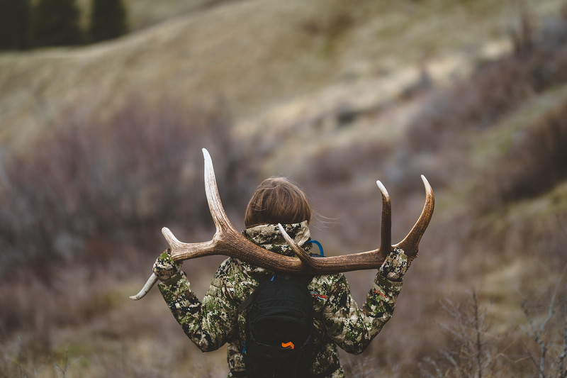 Malia Frame (@malia_f) with a Washington State elk shed. April 2018