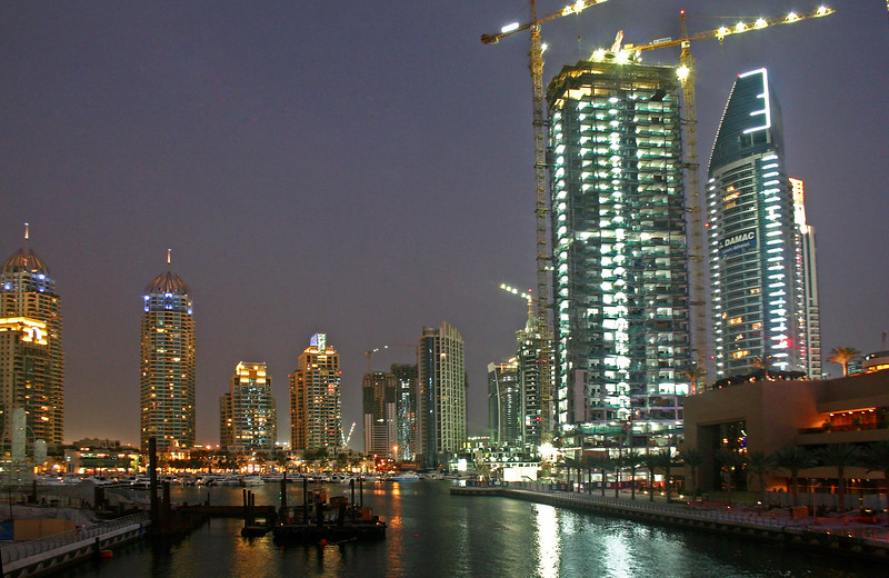 The Dubai Marina. This is man made and was once nothing but desert.
