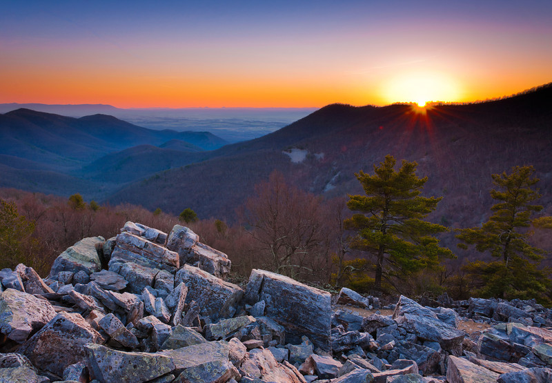 Sunset over the Appalachian Mountains and Shenandoah Valley from Blackrock Summit, Shenandoah National Park, Virginia