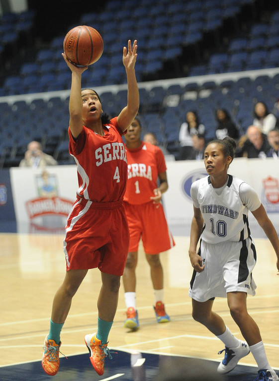. 02-27-2012--(LANG Staff Photo by Sean Hiller)- Serra vs. Windward in Wednesday\'s girls basketball CIF SS Div. 4AA title game at the Anaheim Convention Center Arena in Anaheim. Serra\'s Deandrea Toler (4) shoots two points in the fourth quarter.
