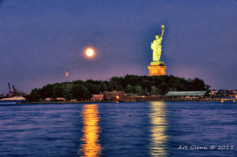 Pastel Super Moon and Statue of Liberty - Art Glenn