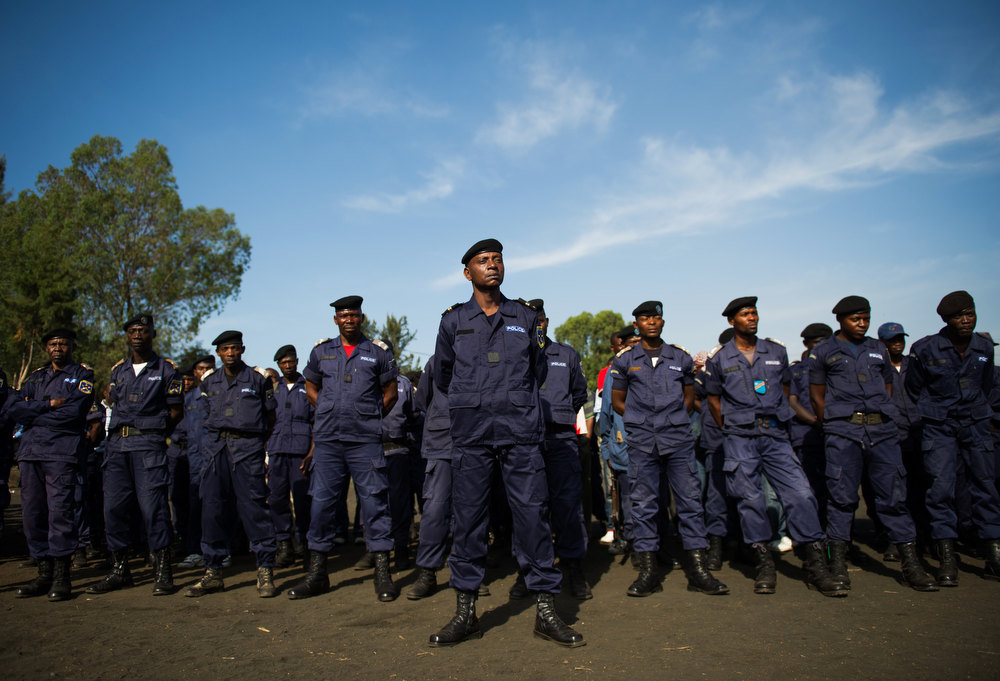 . Congolese national police officers gather at the Afia Stadium in the city of Goma, in the east of the Democratic Republic of Congo, on December 2, 2012. M23 rebels pulled out of Goma yesterday, leaving the United Nations and the police in the city, many of whom had deserted to M23 when it fell to rebel control. PHIL MOORE/AFP/Getty Images